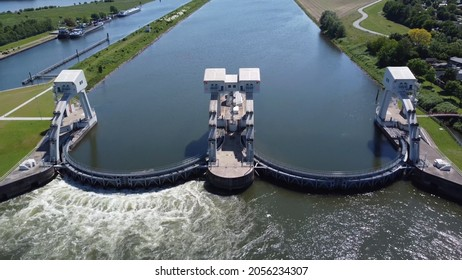 Aerial bird view of modern water channel controller controlled at both sides by a gate