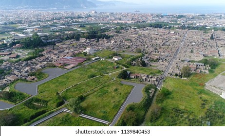 Aerial bird view photo of Pompeii an ancient Roman city near Naples in Campania region of Italy in territory of comune of Pompei Pompeii along with Herculaneum and many villas in surrounding area