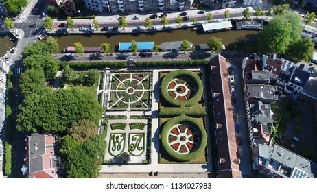 Aerial bird view photo Prinsentuin in English Prince's garden or Prinsenhoftuin is garden built in renaissance style that is located in Groningen behind Prinsenhof in northern part of Holland