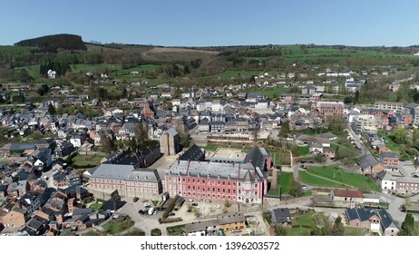 Aerial bird view photo of Stavelot located in the Walloon municipality in Belgian province of Liege at Ardennes region popular tourist destination know by beautiful nature