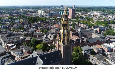 Aerial bird view picture of the Aa-kerk tower this church is historic parish church in centre of Groningen and dominant feature in skyline of the city together with the nearby Martinitoren