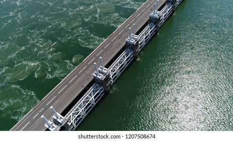 Aerial bird view picture of Eastern Scheldt storm surge barrier in dutch Oosterscheldekering is largest of Delta Works series of dams and barriers designed to protect Netherlands from flooding