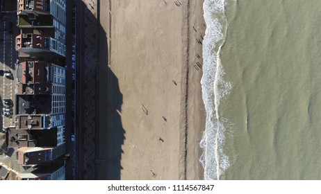 Aerial bird view picture Knokke-Heist beach and boulevard the city is located along North Sea on Belgian border with the Netherlands and is Belgiums best-known and most affluent seaside resort