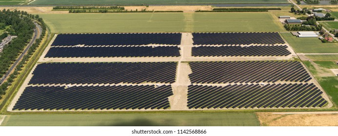 Aerial bird view of solarpark de Groene Hoek, located between Amsterdam Airport and Hoofddorp. The photovoltaic powerstation supplies the city with green energy.