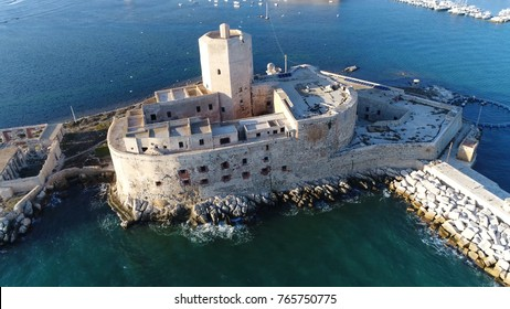 Aerial bird-eye view photo near old coastal fortress Castello della Colombaia located in Trapani Sicily Italy this medieval fort is also known as Torre Peliade and was used as military protection