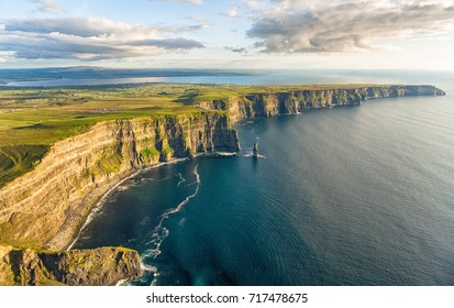 Aerial birds eye drone view from the world famous cliffs of moher in county clare ireland. Scenic Irish rural countryside nature along the wild atlantic way and European Atlantic Geotourism Route