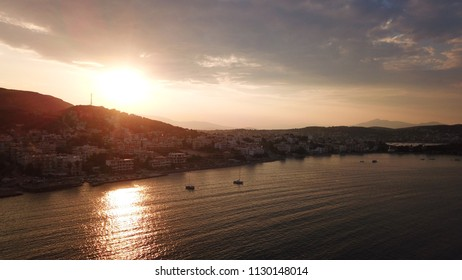 Aerial bird's eye photo taken with drone of famous rocky seascape in Porto Rafti bay at sunset, Mesogeia, Attica, Greece