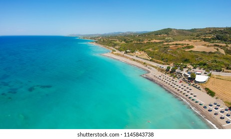 Aerial birds eye view drone photo beach on Rhodes island, Dodecanese, Greece. Panorama with nice lagoon and clear blue water. Famous tourist destination in South Europe