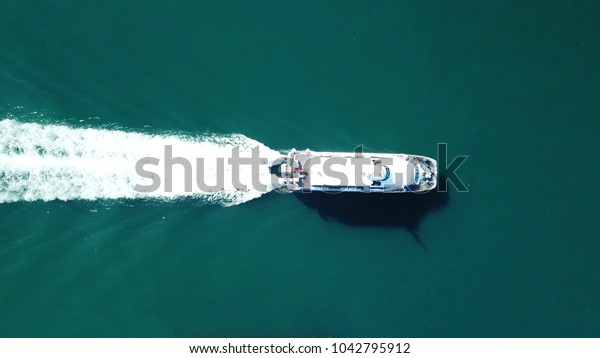 Aerial Birds Eye View Drone Boat Stock Photo (Edit Now