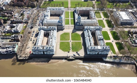 Aerial bird's eye view photo taken by drone of iconic Greenwich University and Greenwich Park, London, United Kingdom