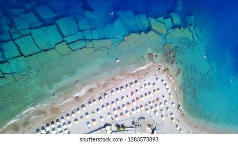 Aerial birds eye view photo taken by drone of Rhodes or Rodos island town Elli beach a popular summer tourist destination, Dodecanese, Aegean, Greece