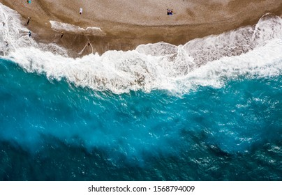 Aerial birds eye view photo taken by drone of Rodos island town, Elli beach, popular summer tourist destination, Dodecanese, Aegean, Greece