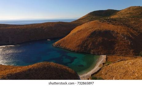 Aerial birds eye view photo taken by drone of Cape Matapan or Tainaron the Southest part of Europe, Mani, Lakonia, Peloponnese, Greece