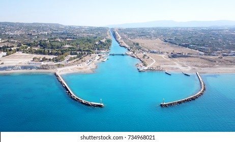 Aerial bird's eye view photo taken by drone of Corinth Canal entrance of Isthmos or Isthmus, Peloponnese, Greece
