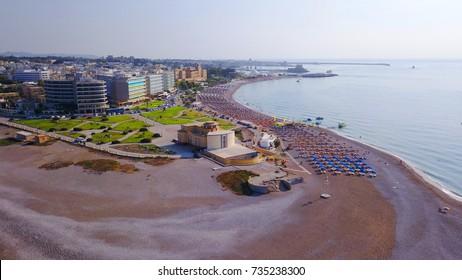 Aerial birds eye view photo taken by drone of Rhodes island town Elli beach a popular summer tourist destination, Dodecanese, Aegean, Greece