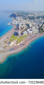 Aerial birds eye view photo taken by drone of Rhodes island town Elli beach a popular summer tourist destination, Dodecanese, Aegean, Greece