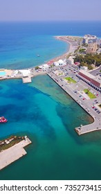 Aerial birds eye view photo taken by drone of Rhodes island town port a popular tourist destination, Dodecanese, Aegean, Greece
