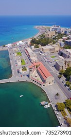 Aerial birds eye view photo taken by drone of Rhodes island town Mandraki port a popular summer tourist destination, Dodecanese, Aegean, Greece
