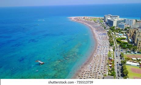 Aerial birds eye view photo taken by drone of Rhodes island town, Elli beach, a popular summer tourist destination, Dodecanese, Aegean, Greece