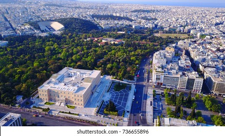 Aerial birds eye view photo taken by drone of Syntagma square and Greek Parliament, Athens, Attica, Greece