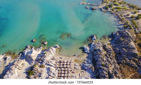 Aerial bird's eye view photo taken by drone of famous beach of Kolympithres, Paros island, Cyclades, Greece