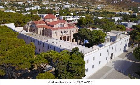 Aerial birds eye view photo taken by drone of iconic Panagia Ekatodapiliani Monastery, Paros island, Cyclades, Greece