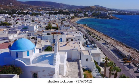 Aerial birds eye view photo taken by drone of Port of Paroikia, Paros island, Cyclades, Greece