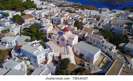 Aerial bird's eye view photo taken by drone of chora of Patmos island, Greece