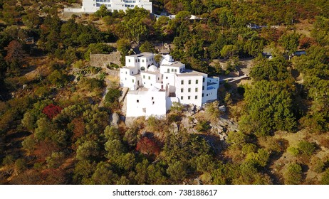 Aerial birds eye view photo taken by drone of Monastery of Saint John the Theologian where he wrote the book of Revelation, Patmos Island, Dodecanese, Greece