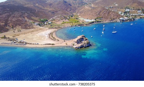 Aerial birds eye view photo taken by drone of Groikos one of the most beautiful natural bays in the world, Patmos island, Dodecanese, Greece