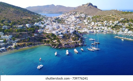 Aerial bird's eye view photo taken by drone of picturesque village of Agia Marina in beautiful Leros island, Dodecanese, Greece