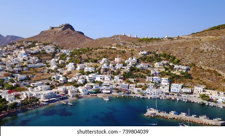 Aerial bird's eye view photo taken by drone of beautiful village of Panteli with view to the castle uphill, Leros island, Dodecanese, Greece
