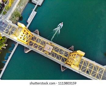 Aerial birds eye view of Sacramento tower bridge