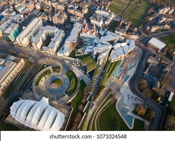 Aerial / Birds eye view of the Scottish Parliament building, Edinburgh, Scotland, UK