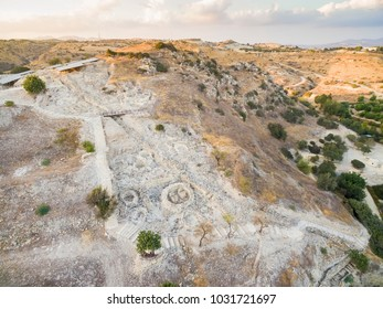 Aerial bird's eye view of UNESCO world heritage site Choirokoitia, Larnaca, Cyprus. View of Khirokoitia, a prehistoric ancient neolithic archaelogical settlement with round houses, from above.