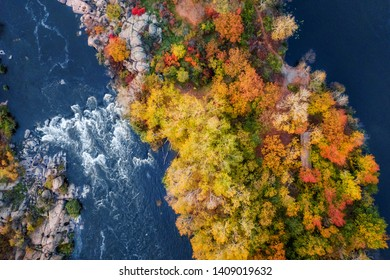 aerial (bird's-eye) view of colorful forest, blue river and rocks. Drone shot. natural beautiful autumn landscape