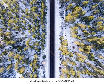 Aerial black single road with forest in winter