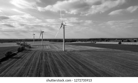 Aerial Black and White Shot of Windmills