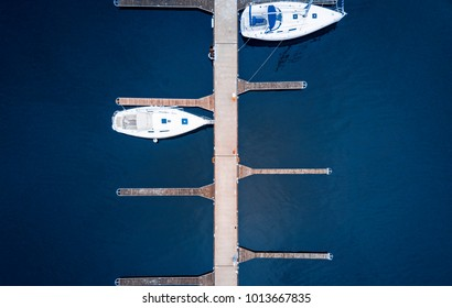 Aerial of boats in European Marina