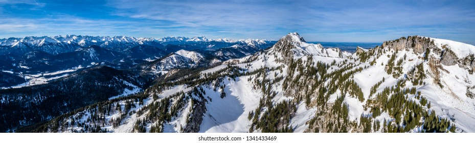 Aerial brauneck ski resort Idealhang Stialm mountain near lenggries - germany alps