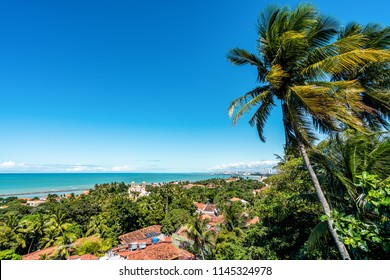 Aerial buildings and beach view of Olinda and Recife in Pernambuco, Brazil
