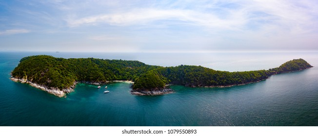 Aerial of cabin cruiser on the big ocean in Andaman take tourist goto snorkeling point at koh Mai thon or honeymoon island, Phuket, Thailand