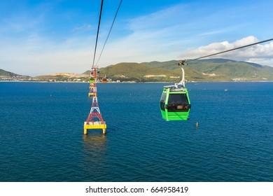 Aerial cable car over ocean in Nha Trang, Vietnam