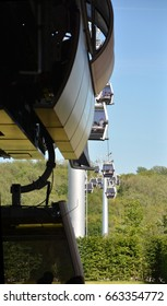 Aerial cableway Impressions on the grounds of the IGA Berlin 2017, International Garden Exhibition Berlin, gardens of the World from June 18, 2017, Germany