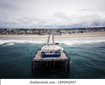 Aerial california beach empty during covid19 pandemic outbreak