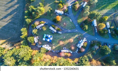 Aerial campground in the forest