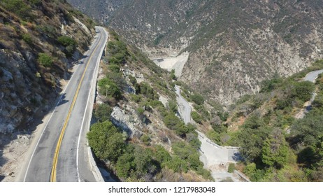 Aerial Canyon Road and damn. Mountain Road Los Angeles, California