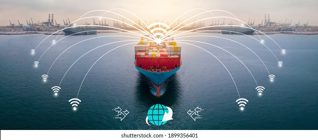 Aerial of cargo ship carrying container for export and import cargo from cargo container depot port concept smart technology freight shipping ship with line connect WIFI icon