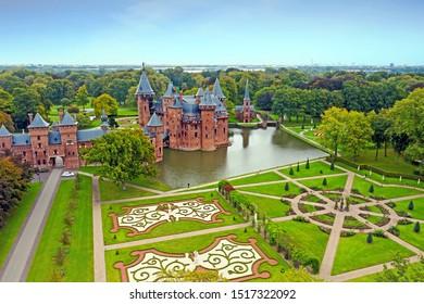 Aerial from the castle 'De Haar' in the Netherlands