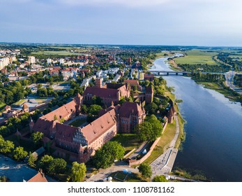 Aerial: The Castle of Malbork in Poland, summer time